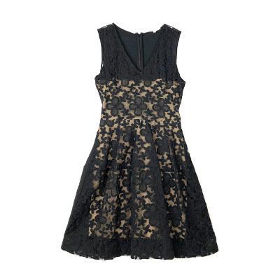 skin lining lace dress black